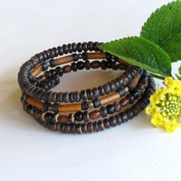 Wood bead bracelets - stacking wrap around bangles