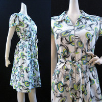 40s 50s Dress Vintage Cotton Zip Front Killer Atomic Print House Day Dress XL