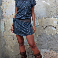 Printed Burn out grey Mini dress with leather belt, Tunic dress, fall women&#x27;s tunic dress