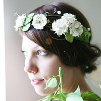 flower crown 'shape of clouds' white floral bridal by whichgoose