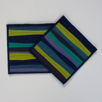 Modern Pot Holders, Blue Potholders, Modern Hotpads