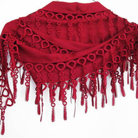 Burgundy PASHMINA SCARF With Fringed Lace,  For Women
