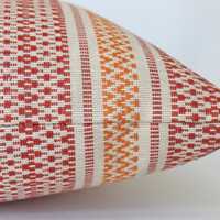 Striped Pillow Cover in Orange and Red