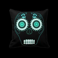 Aqua Fiesta Skull Black Throw Pillows from Zazzle.com