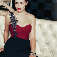 Embellished One Shoulder Red and Black Dress