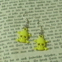 Yellow Skull Dangle Earrings