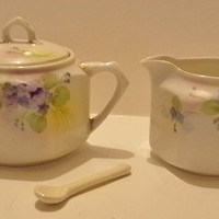 NIPPON - Hand Painted Cream & Sugar Set - WITH SPOON- Antique/Vintage