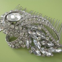 Crystal Rhinestones Hair Comb vintage inspired by bridal101