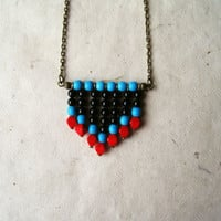 Chevron Necklace. Southwestern Color Block Necklace in Red, Black Onyx and Chalk Turquoise. Minimalist Necklace. Fall 2012 Collection.