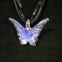 "Beautiful Blue Ice Murano Monarch Butterfly Lampwork - Black Ribbon/Cord 16.5"" Necklace"