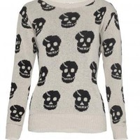 Beige Skull Print Sweater with Ribbed Collar &amp; Cuffs
