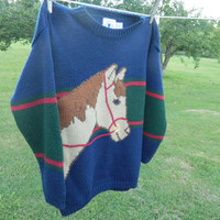 Vintage 80s blue green red striped horse sweater