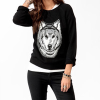 Wolf Graphic Raglan Sweater