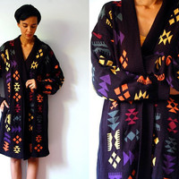 Vtg Colorful Tribal Oversized Long Open Cardigan