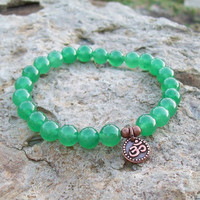 Dark Green Aventurine with Om Charm Meditation Bracelet - Stretch