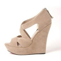 Beige Nude Spring Sexy Strappy Open Toe Suede Wedges by dithzzappear on Sense of Fashion