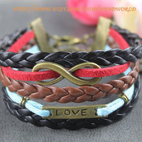 bronze love bracelet infinity karma bracelet wish bracelet multistrand braid-N577