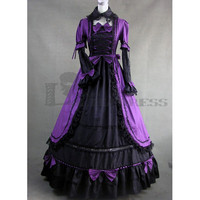 Buy Long Sleeves Bowknot Ruffles Ball Gown Black and Purple Gothic Victorian Dress [TQL120427088] - 71.59