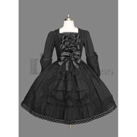 Elegant Long Sleeves Square Collar Cotton Black Gothic Lolita Dress for Women [TQL120504027] - £48.59