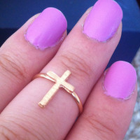 Adjustable cross gold colored small cross ring
