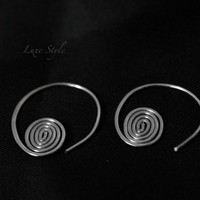 Coiled Ear Rings spiral sterling silver ear rings open hoop trendy modern handmade jewelry Luxe Style
