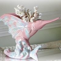 Beach Decor Vintage Swordfish Ceramic Planter - Royal Haeger Planter