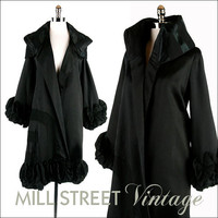 Vintage 1920s 20s Coat Jacket Black Silk by millstreetvintage