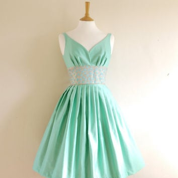 Mint Green Cotton Satin Prom Dress  Made by Dig by digforvictory