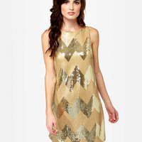 BB Dakota Malia Dres - Gold Dress - Sequin Dress - Shift Dress - $86.00