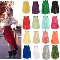Women Girl High Waist Retro Slanted Asymmetric Front Short Back Long Lace Skirt