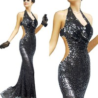 Evening Party Black Formal Gown Bride Dress S M L 054