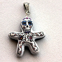 Day of the Dead/ Halloween Pendant, Skeleton Poppet with Pink Polka Dots
