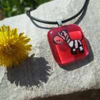 End of summer sale - 50% off - Zebra Glass Pendant with pink backround
