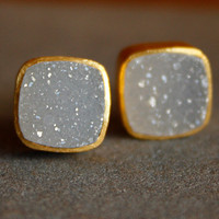Gold Soft White Agate Druzy Stud Earrings - Square Studs - Post Setting, Minimalist, AAA Quality