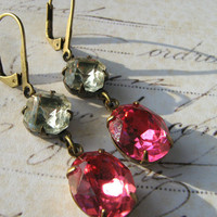 Estate Earrings, Pink Rhinestone Earrings, Vintage Rhinestone Glass and Rose Pink Lever Back Earrings