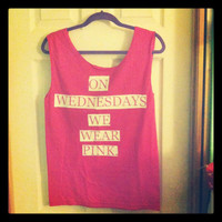 Size Medium On Wednesdays we wear pink tank top