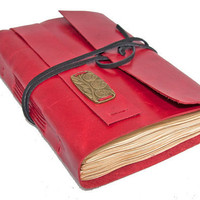 Red Leather Journal with Tea Stained Paper