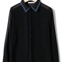 Zig Zag Stitchwork Collar Shirt in Black - New Arrivals - Retro, Indie and Unique Fashion