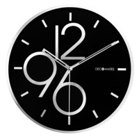 DecoMates Non-Ticking Silent Wall Clock – Sharp Shimmer (Black/Silver)