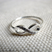 Infinity Ring in Silver promise together forever love knot friendship ring