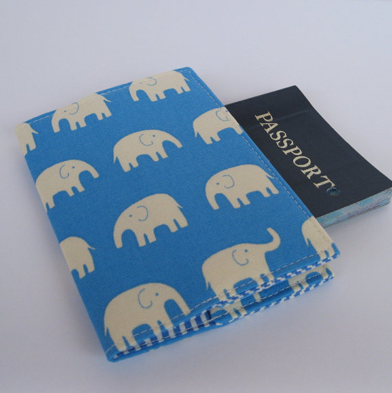 Passport Fabric Case Cover  Cream Elephants on by baffinbags