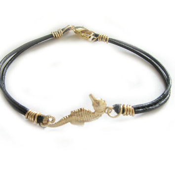 Gold Seahorse Bracelet Wire Wrapped Black Leather Jewelry Birthday