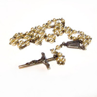 Vintage Rosary Beads, Faux Pearl Necklace, Religious Jewelry