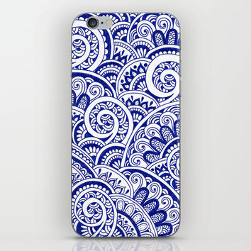 Midnight Blue Maze iPhone & iPod Skin by PeriwinklePeacoat