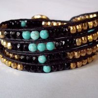 Chan Luu Bohemian Leather 4 Wrap Beaded Boho Bracelet Black Gold Czech Glass and Natural Turquoise - Osiris