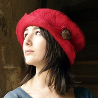 felt and cotton hat handmade in France ruby by jannio on Etsy