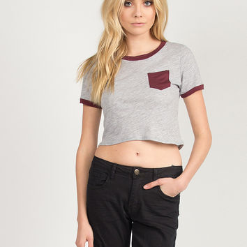 Contrast Pocket Cropped Tee - Burgundy
