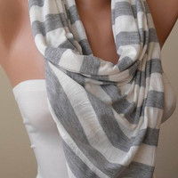 Light Grey and Off-White Striped Scarf - Combed Cotton