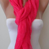 New - Trendy - Lightweight - Pink Scarf - Tulle Fabric - Seamless Shawl
