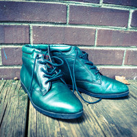 Vintage Green Leather Lace Up Ankle Boots 8M